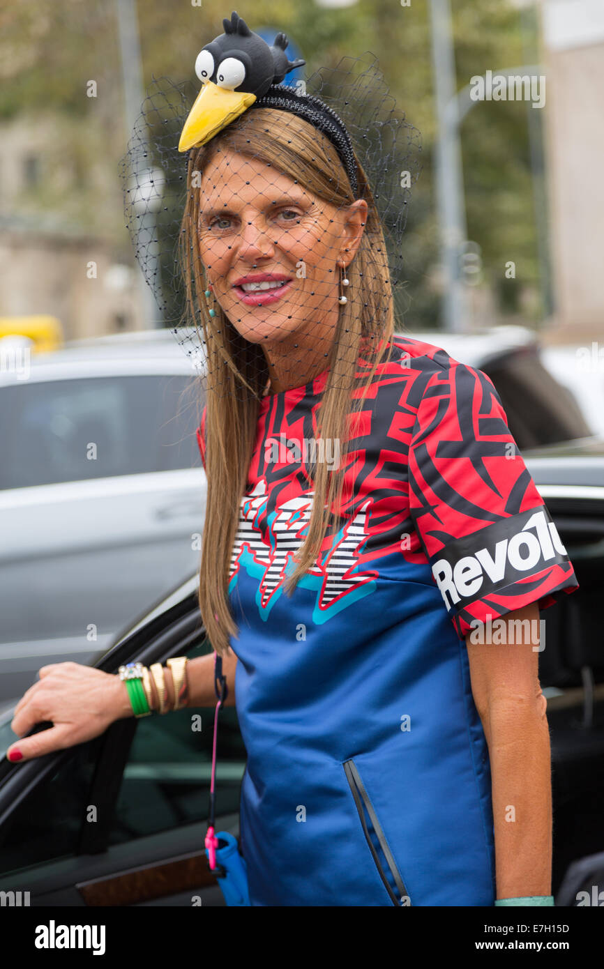 MILAN, ITALY - SEPTEMBER 17: Anna Dello Russo is seen outside the Gucci Fashion Show on September 17,  2014 in Milan. - Stock Image