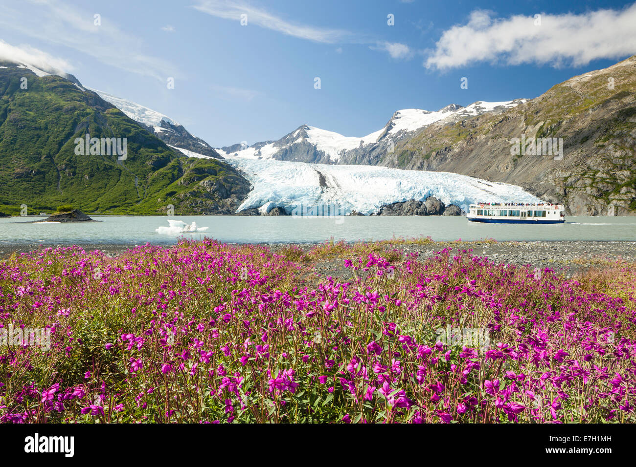 A tour boat explores Portage Lake with Portage Glacier in the Chugach National Forest of Portage Valley in Alaska. Stock Photo