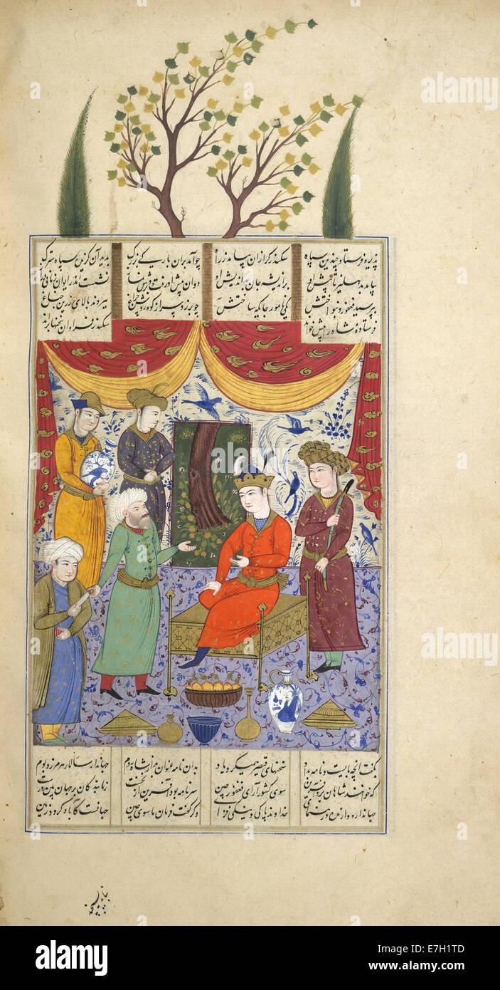 Iskandar sending a letter - Shahnama (1630-1640), f.421v - BL IO Islamic 1256 - Stock Image