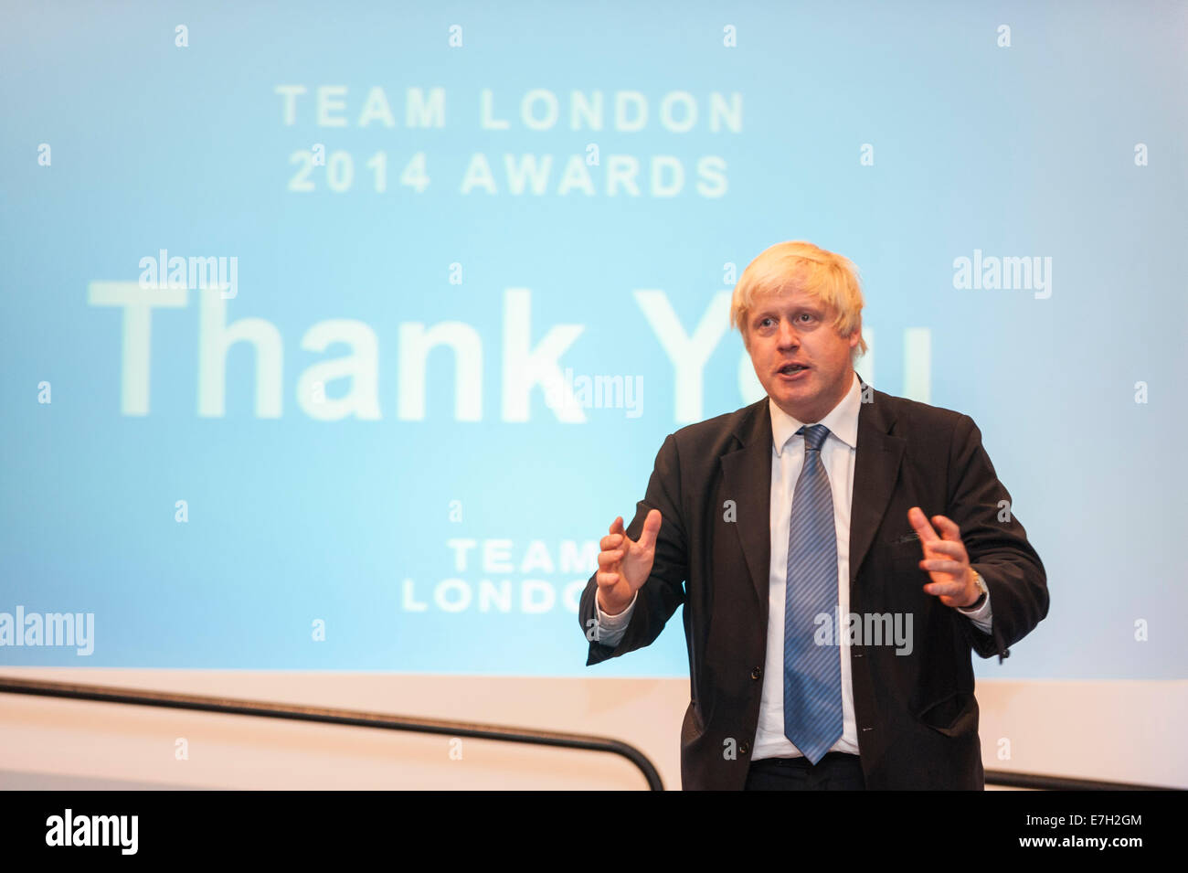 London, UK, 17 September 2014. Boris Johnson, Mayor of London, celebrates the capital's volunteering legacy - Stock Image