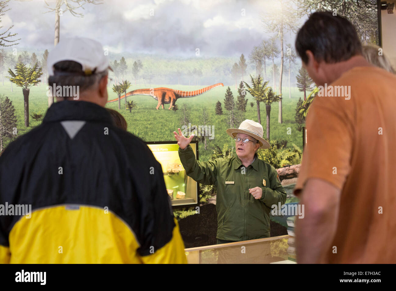 Jensen, Utah - A park ranger talks with visitors in the Quarry Exhibit Hall at Dinosaur National Monument. - Stock Image