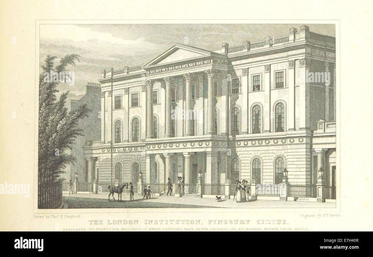 The London Institution, Finsbury Circus - Shepherd, Metropolitan Improvements (1828), p287 - Stock Image