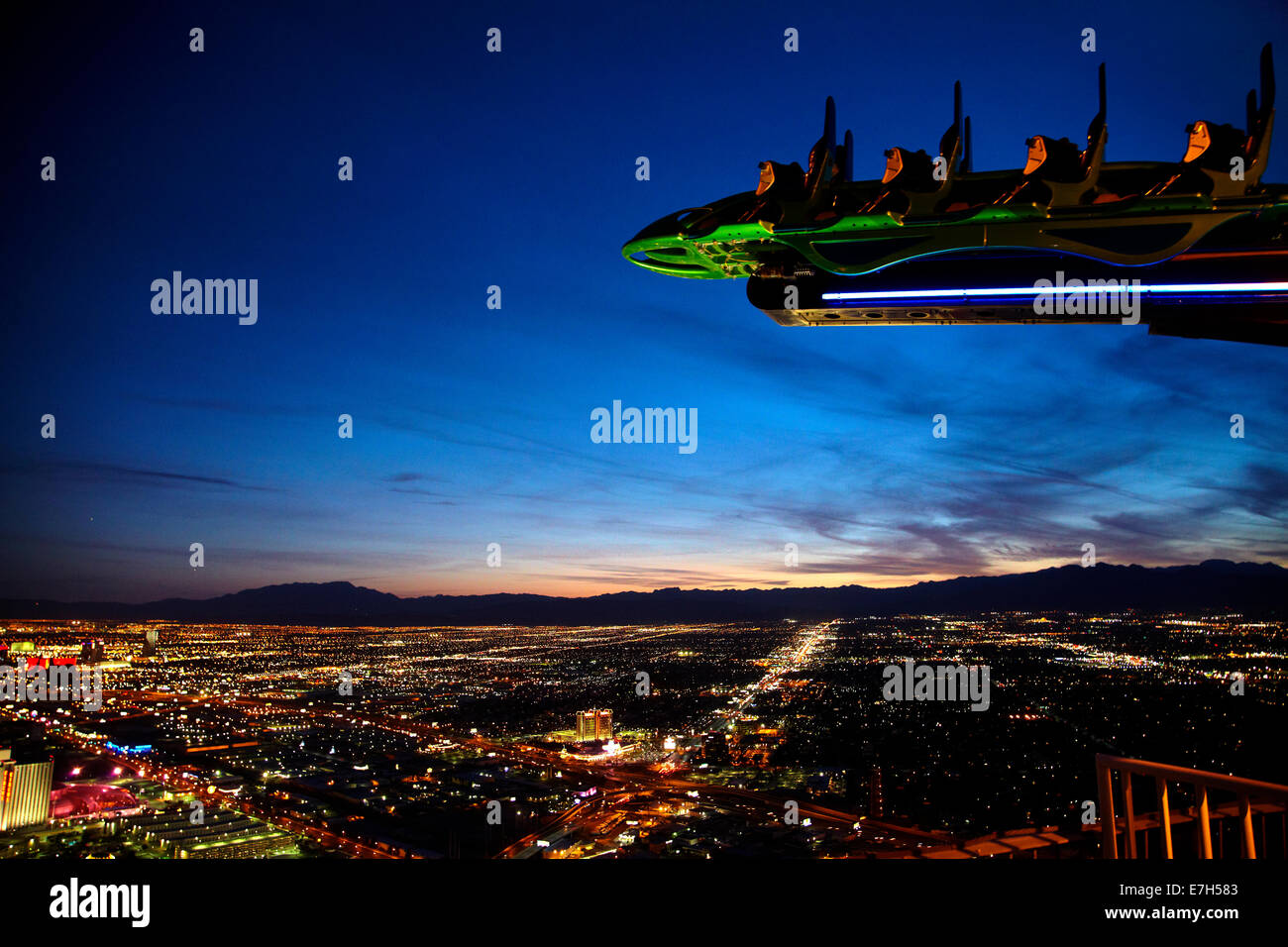 X-Scream thrill ride on top of Stratosphere tower, 866ft / 264m above Las Vegas, Nevada, USA - Stock Image