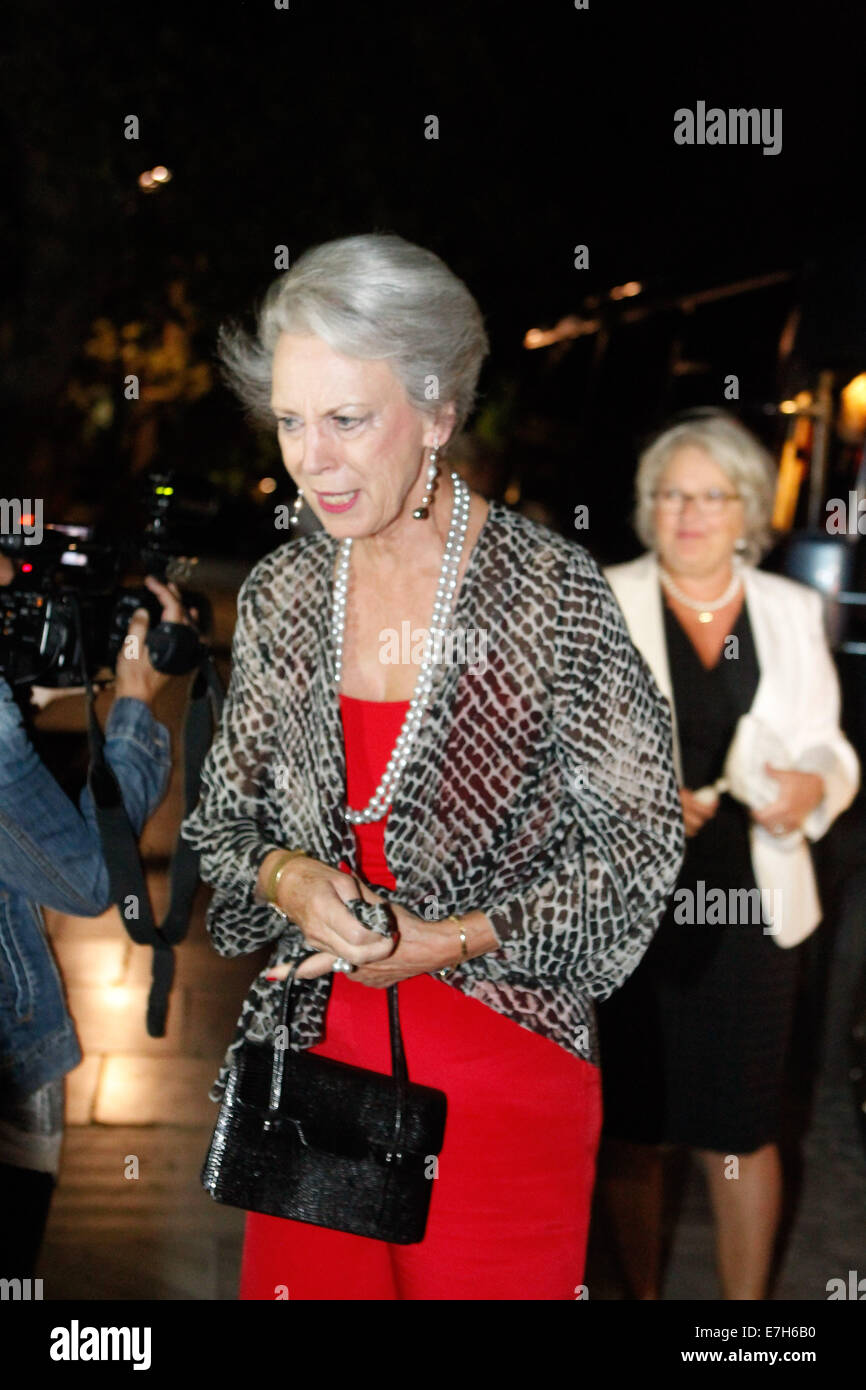 Athens, Greece. 17th Sep, 2014. Princess Benedikte of Denmark sister of Anne-Marie arrive for a dinner organized - Stock Image
