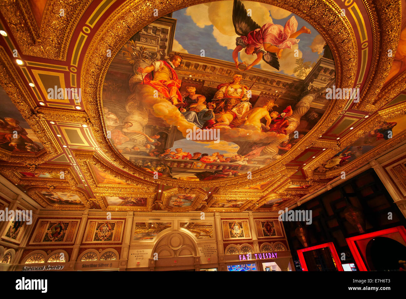 Grand Canal Shoppes entrance hall ceiling, The Venetian Resort Hotel Casino, Las Vegas, Nevada, USA - Stock Image