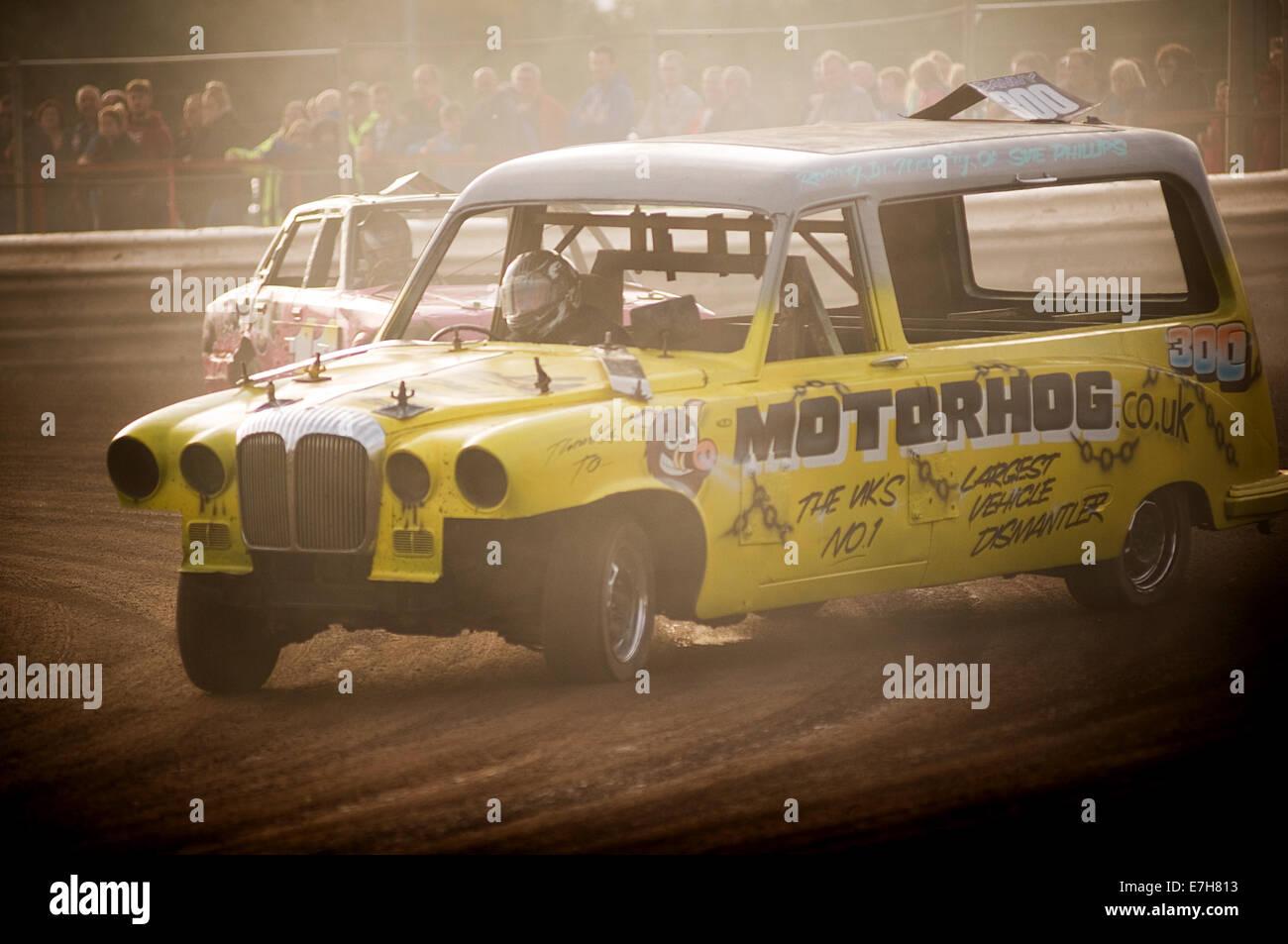hearse Daimler banger racing race races car cars funeral director directors undertaker undertakers stock demolition - Stock Image