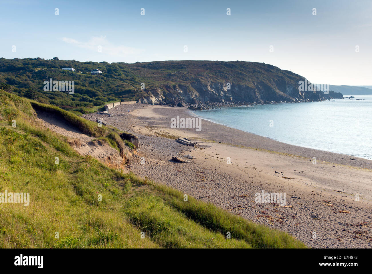 View towards Compass Cove a short walk from Kennack Sands beach Cornwall the Lizard Heritage coast South West England - Stock Image