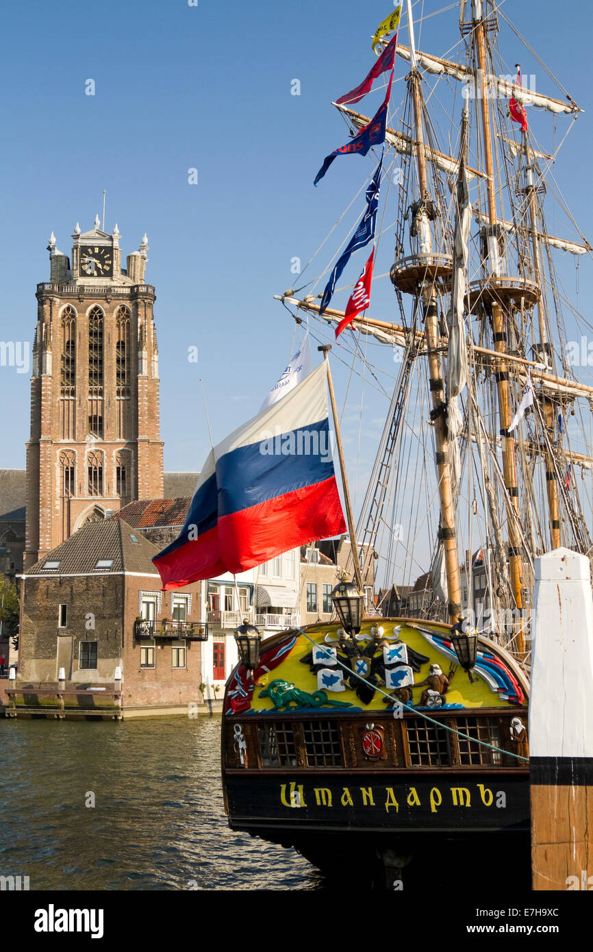 DORDRECHT, NETHERLANDS - OCTOBER 3 2011: The Russian replica galleon the Shtandart, docked near Dordrecht cathedral. - Stock Image