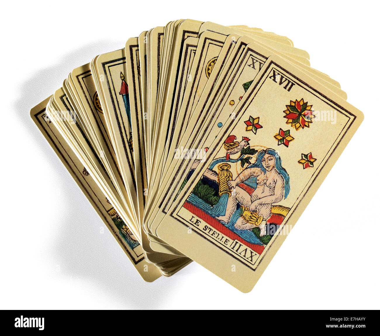 Tarot Cards on White Background - Stock Image