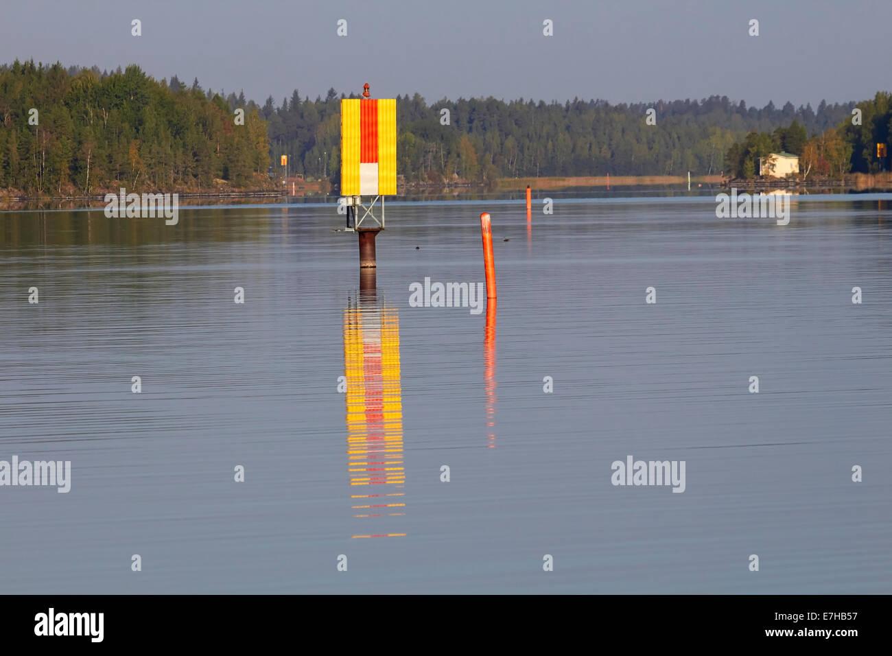 Navigation mark and buoys at lake Saimaa, Lappeenranta Finland - Stock Image