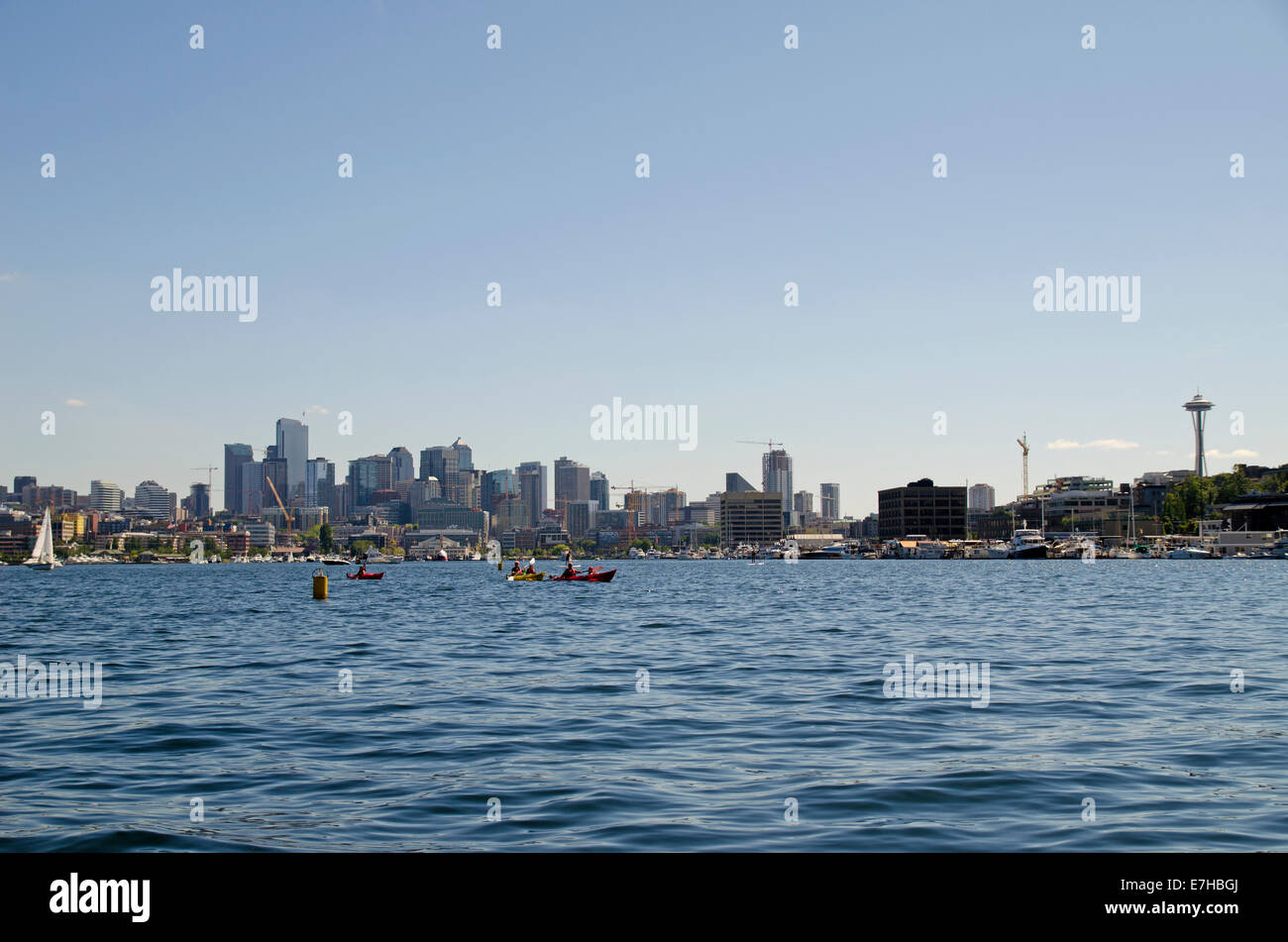 View of skyscrapers from Lake Union, Seattle - Stock Image