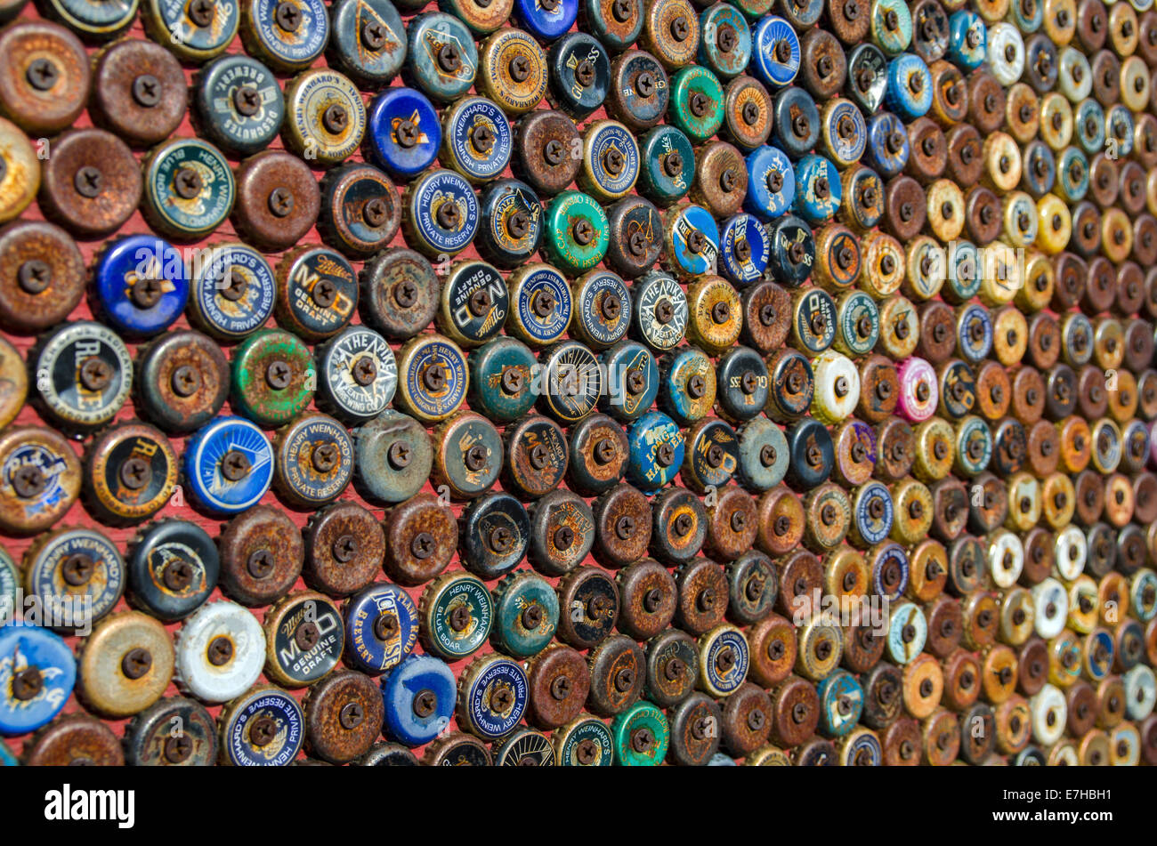 Bottle top art work, Capitol Hill, Seattle - Stock Image