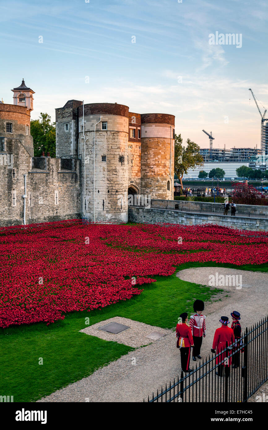 Poppy Display at The Tower of London To Commemorate the 100 year Anniversary of the First World War, London, England - Stock Image