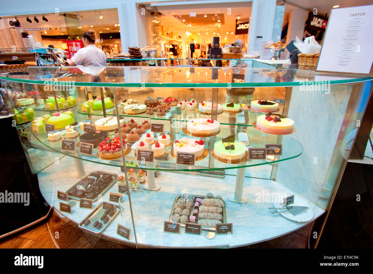 Sweden, Stockholm -  Typical Swedish Cakes and Sweets in Gallerian Mall - Stock Image