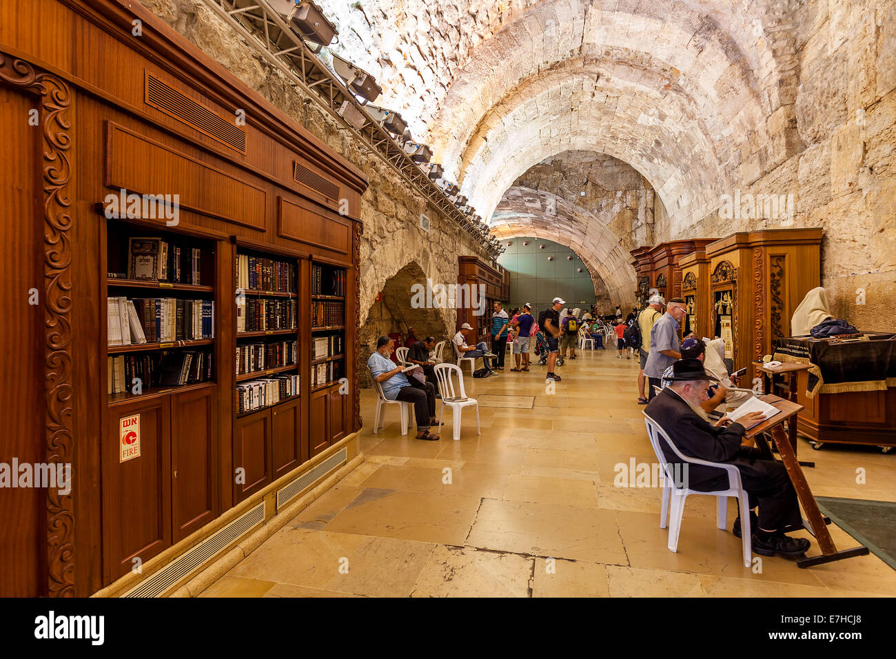 Prayers inside Cave Synagogue in Jerusalem, Israel. - Stock Image
