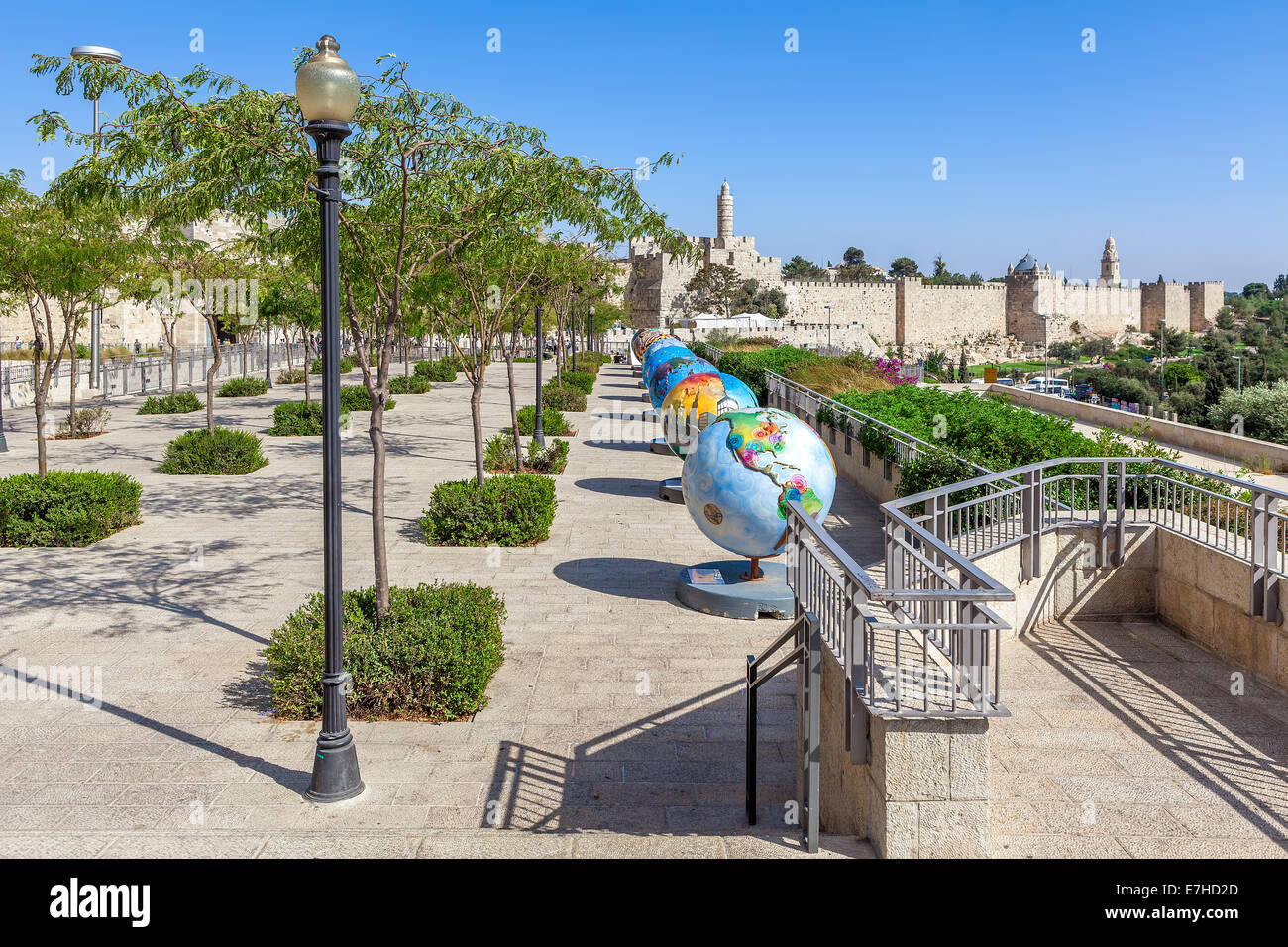 Globes exposition in Old City of Jerusalem, Israel. - Stock Image