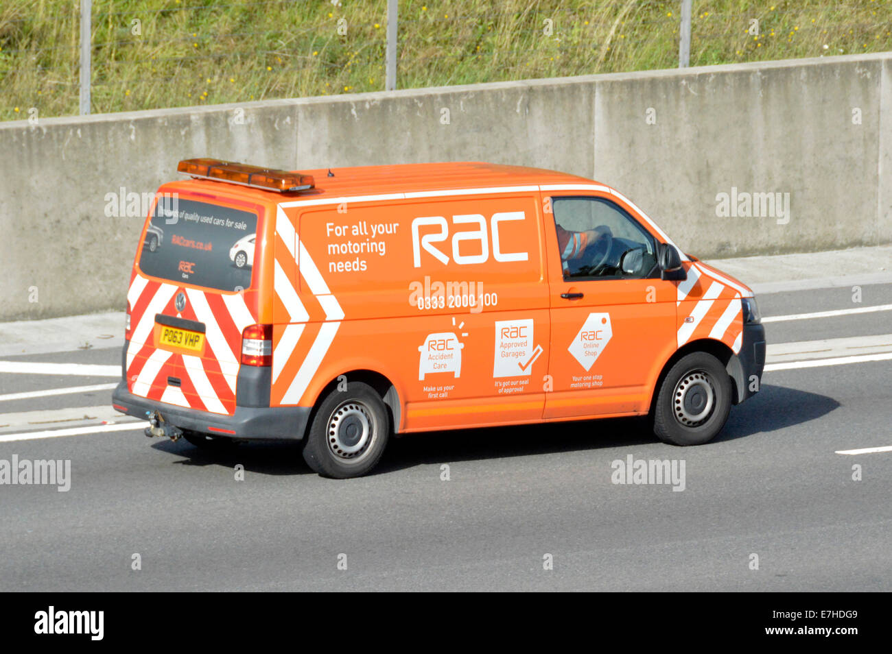 5cff6d1d61 RAC van driving along motorway advertising other services beyond breakdown  and rescue - Stock Image