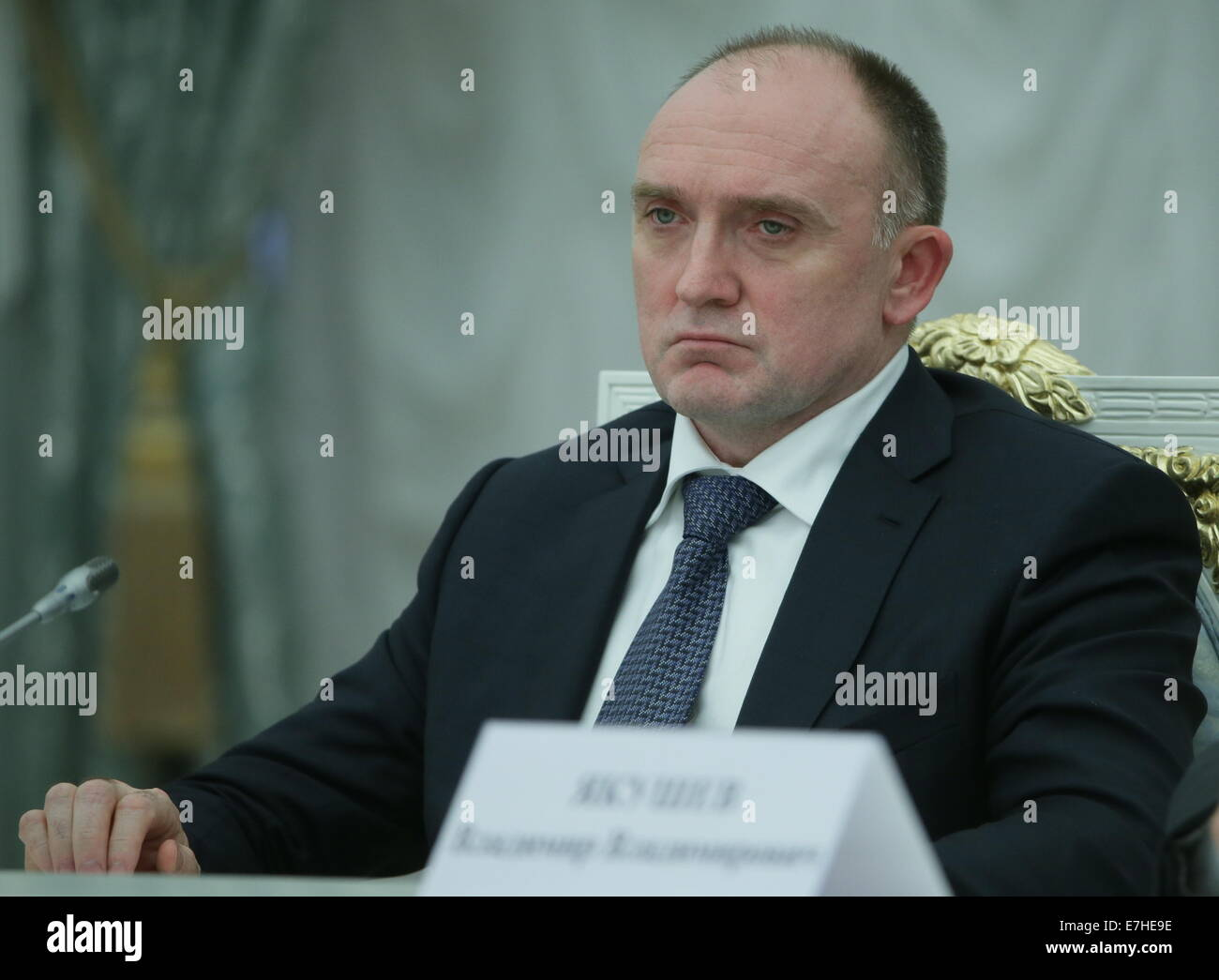 Moscow, Russia. 17th Sep, 2014. Governor elect of Chelyabinsk Region, Boris Dubrovsky at a meeting of Russian president - Stock Image