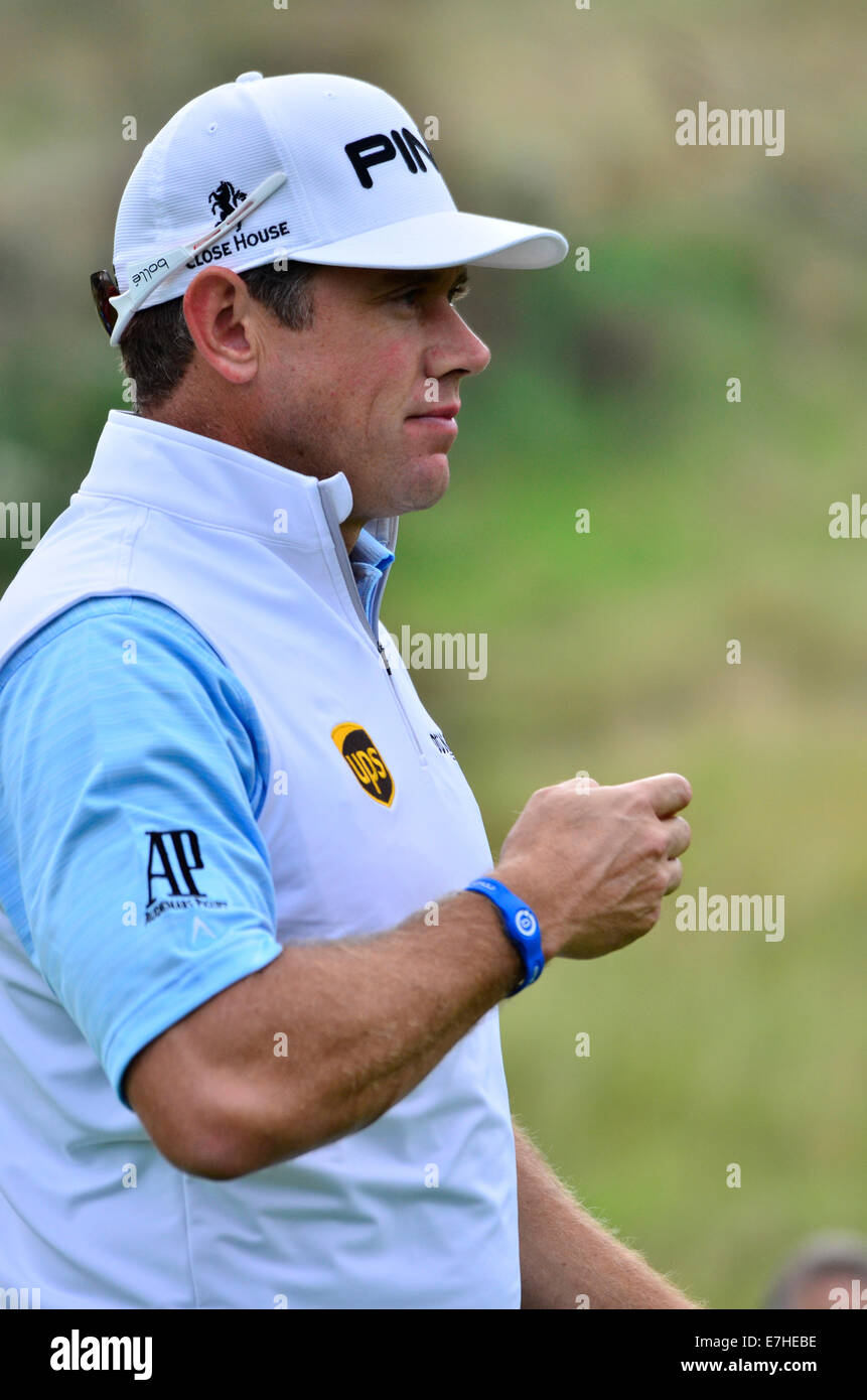 Lee Westwood from England having just Teed off on the 18th half way through his Round at the ISPS Wales Open Golf. - Stock Image