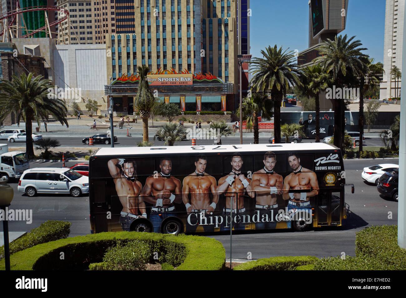 Bus advertising Chipendales, Las Vegas Boulevard (The Strip), Las Vegas, Nevada, USA - Stock Image