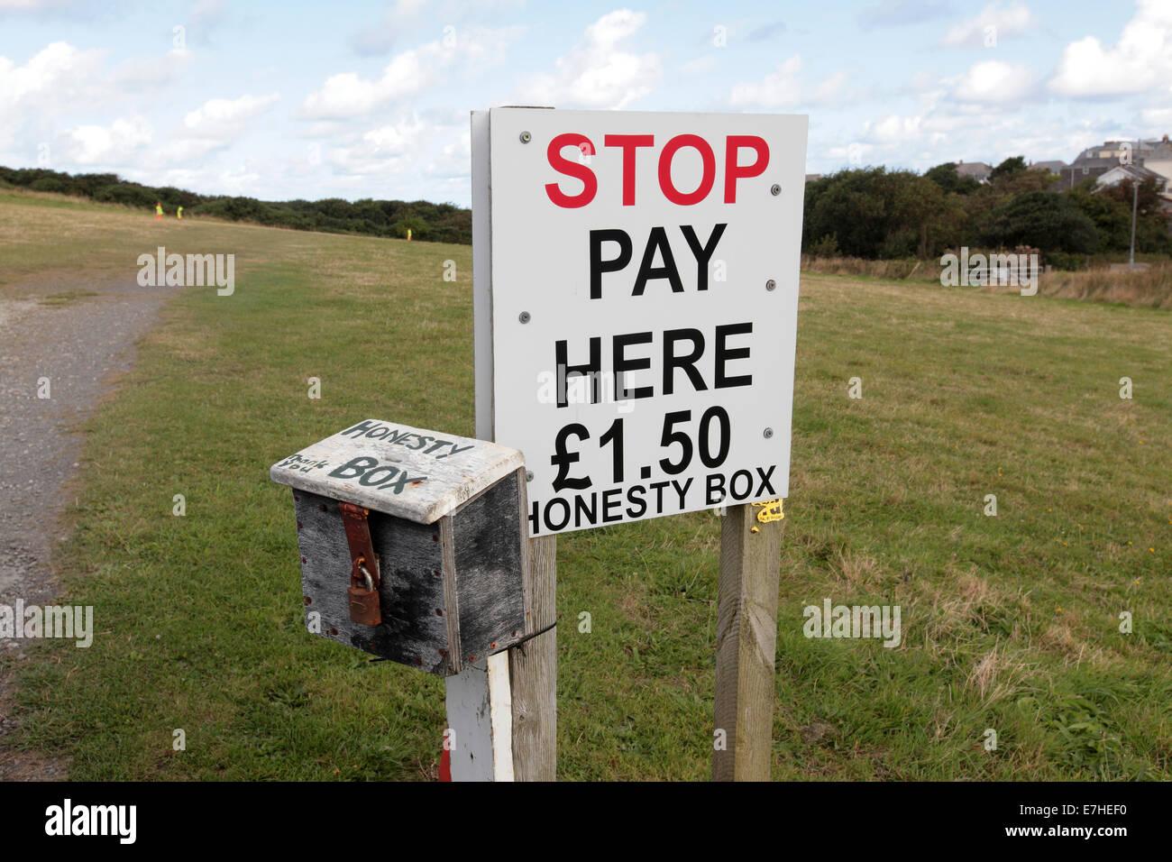 Honesty box, car park Tintagel, Cornwall, UK - Stock Image