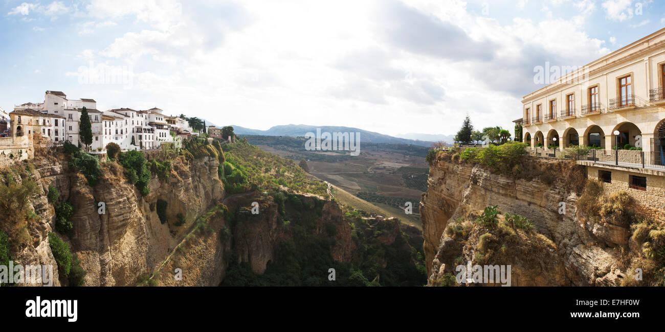 El Tajo Canyon from El Puente Nuevo, Ronda, Malaga, Andalucia, Spain Stock Photo