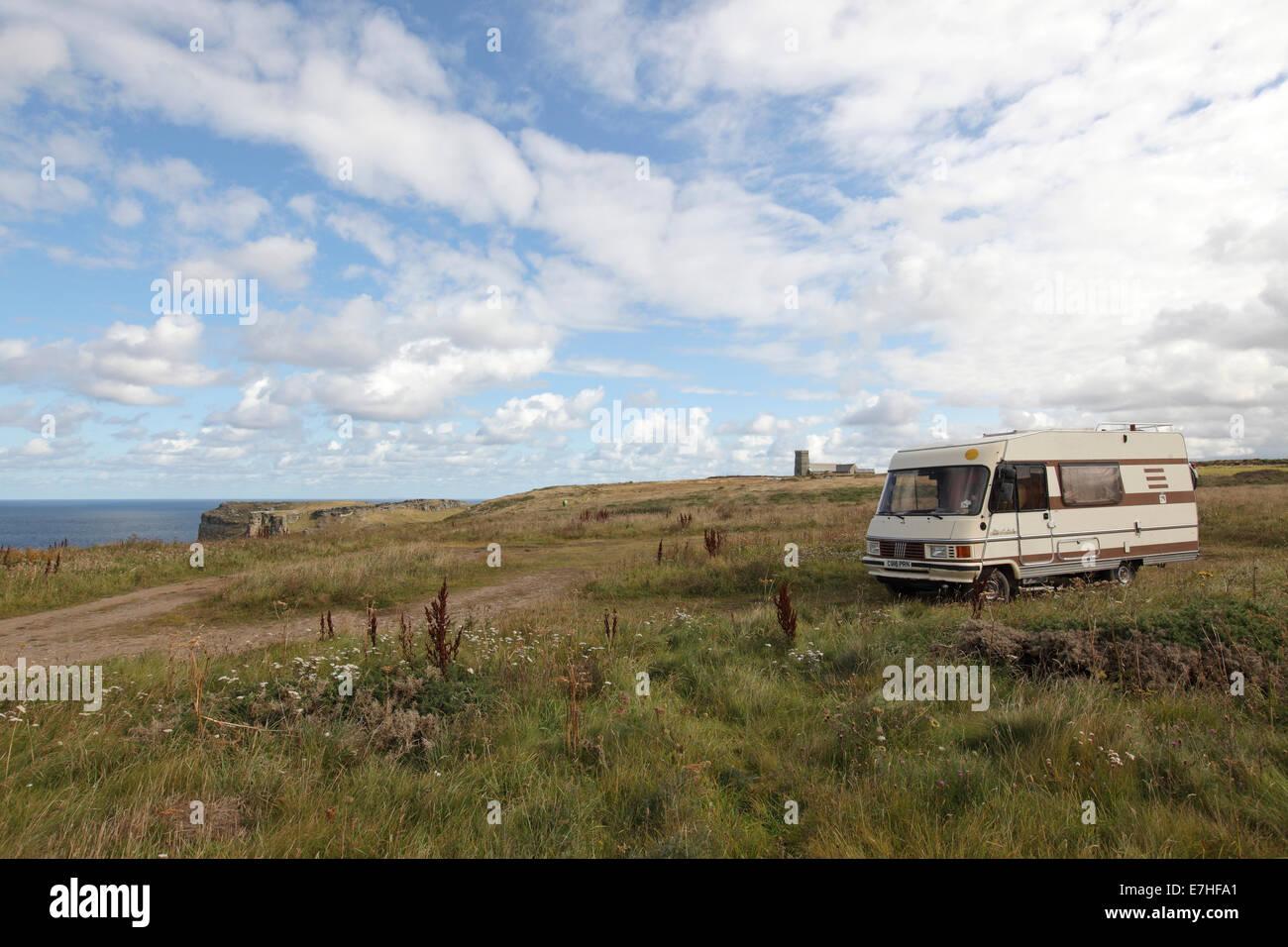 Camper van campervan motorhome, camping free in Cornwall - Stock Image