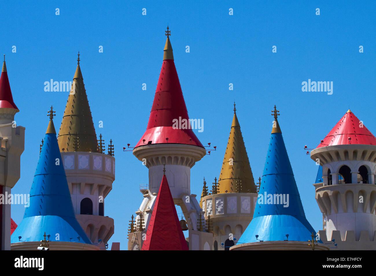 Turrets of Excalibur Hotel and Casino, Las Vegas, Nevada, USA - Stock Image