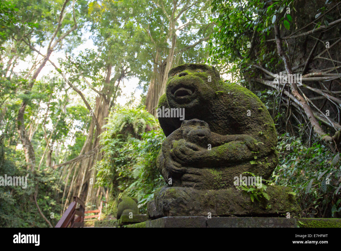 A sculpture in Monkey Forest Sanctuary in Ubud, Bali,Indonesia - Stock Image