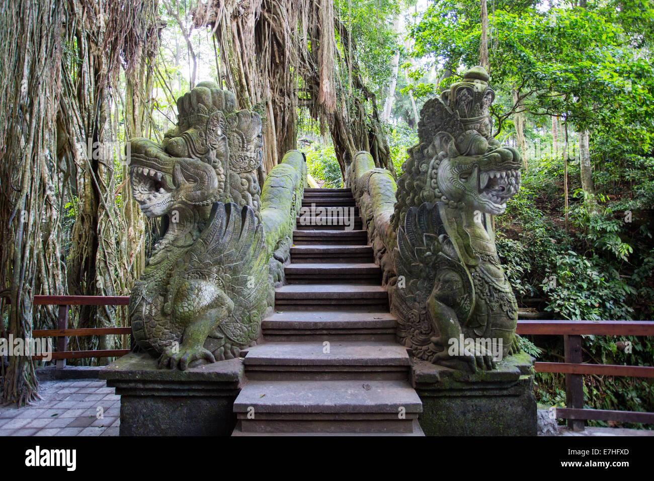 Dragon Bridge in Monkey Forest Sanctuary in Ubud, Bali,Indonesia - Stock Image