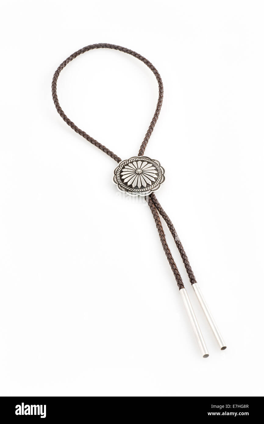 Braided Bolo Tie with Concho. - Stock Image