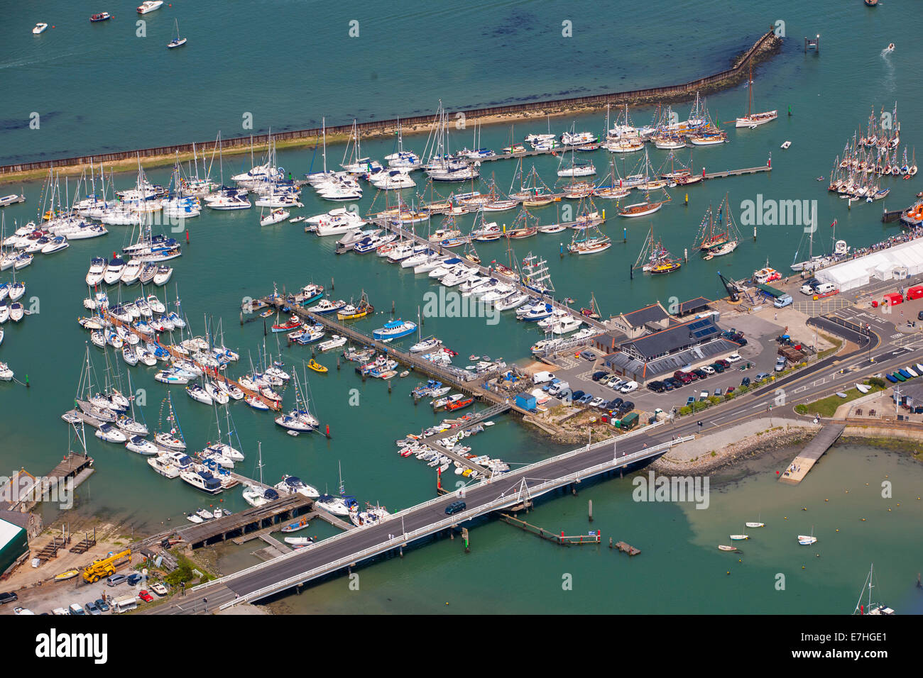 Yachts, Marina, Old Gaffers Festival, Yarmouth, Harbour, Aerial, UK, England, Isle of Wight, Stock Photo
