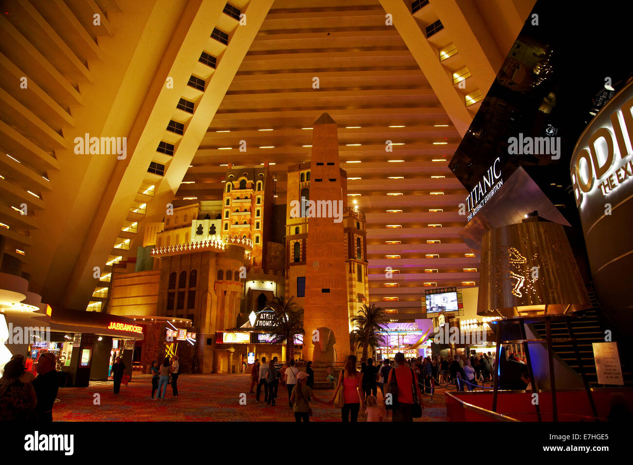 Lobby and hotel rooms high in interior of pyramid at Luxor Hotel and ...