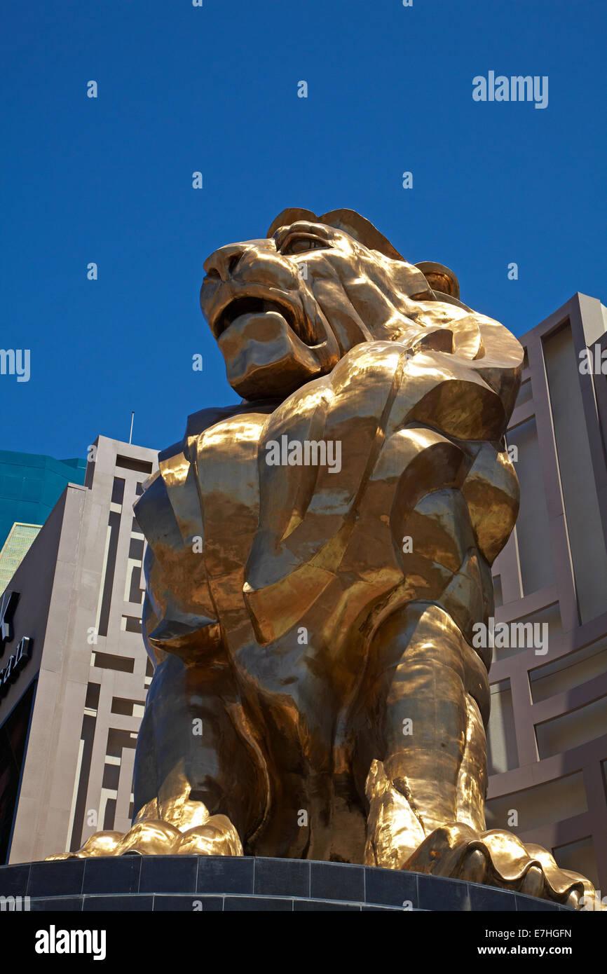 Gold Lion outside MGM Grand hotel casino, Las Vegas, Nevada, USA - Stock Image