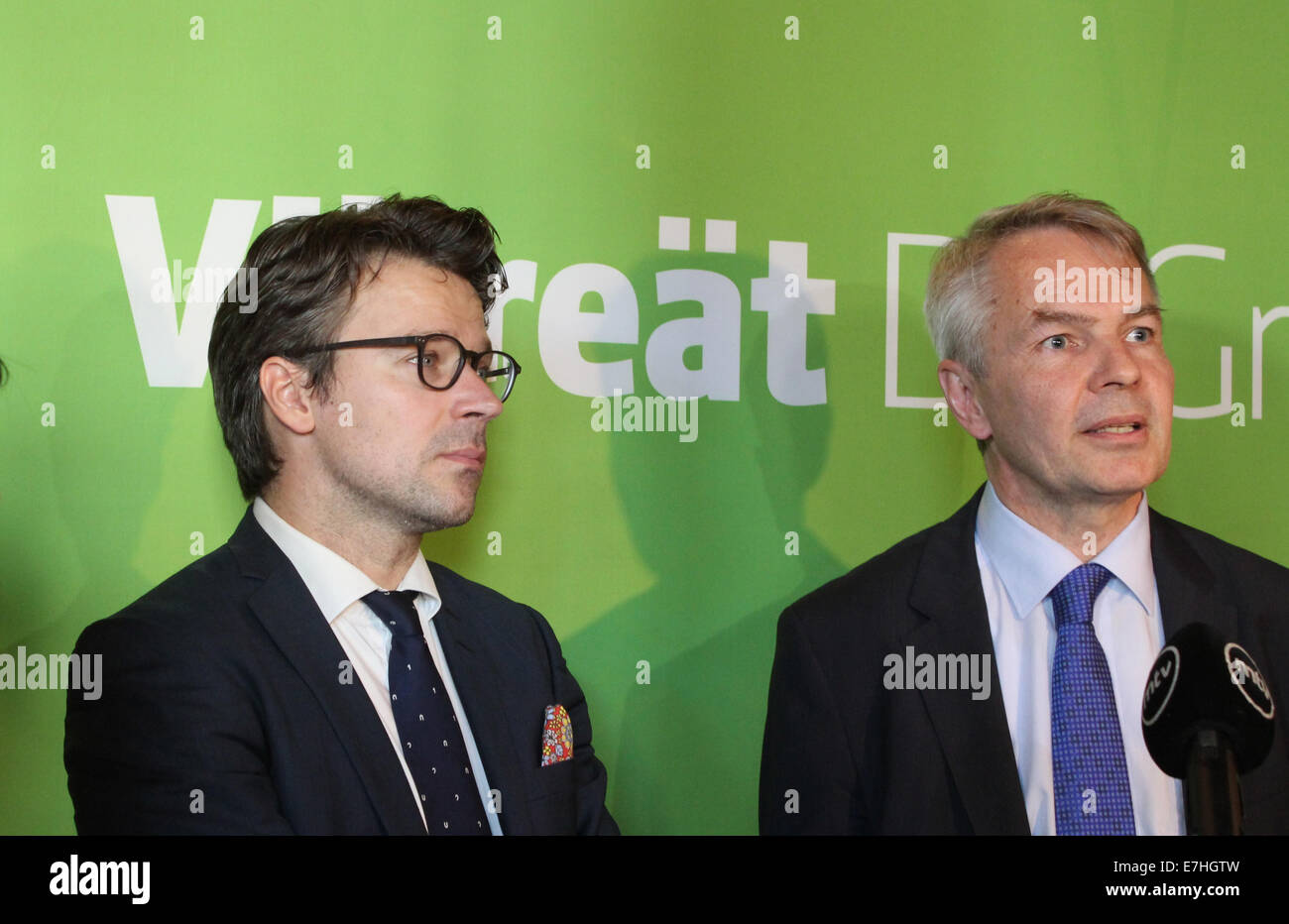 Helsinki, Finland. 18 September, 2014. Finnish Green League leaves the cabinet over dispute about building the new - Stock Image