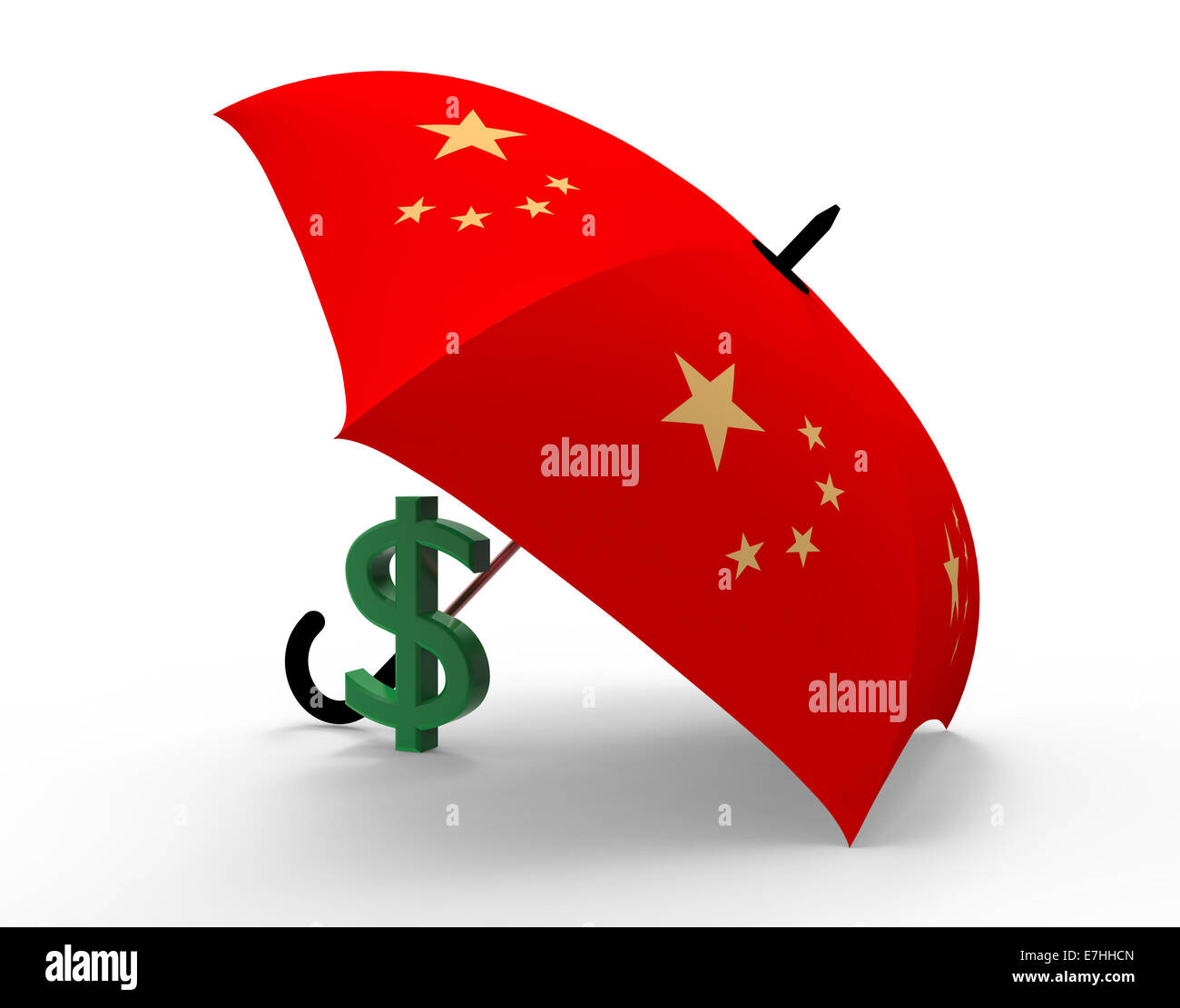 Dollar Symbol Under The Chinese Umbrella 3d Render Stock Photo