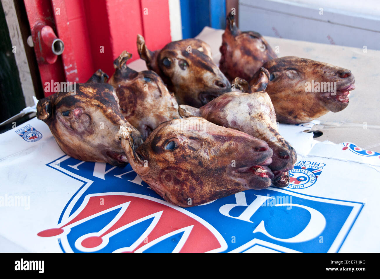 Unskinned Sheep / goat heads for sale in Butchers in East