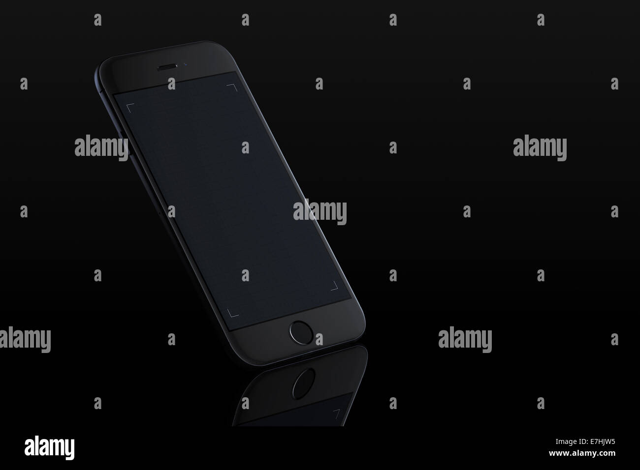 Reflection of smart phone iphone 6 (space gray) on black background, digitally generated artwork. - Stock Image
