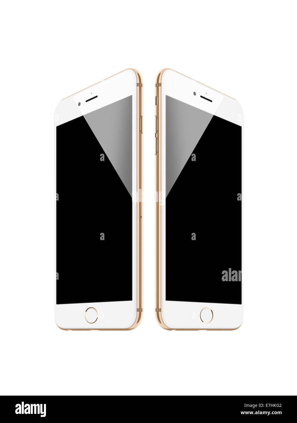 Digitally generated image of cell phones, iphone 6 gold. - Stock Image