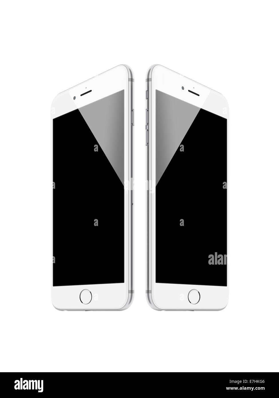 Digitally generated image of cell phones, iphone 6 (silver). - Stock Image