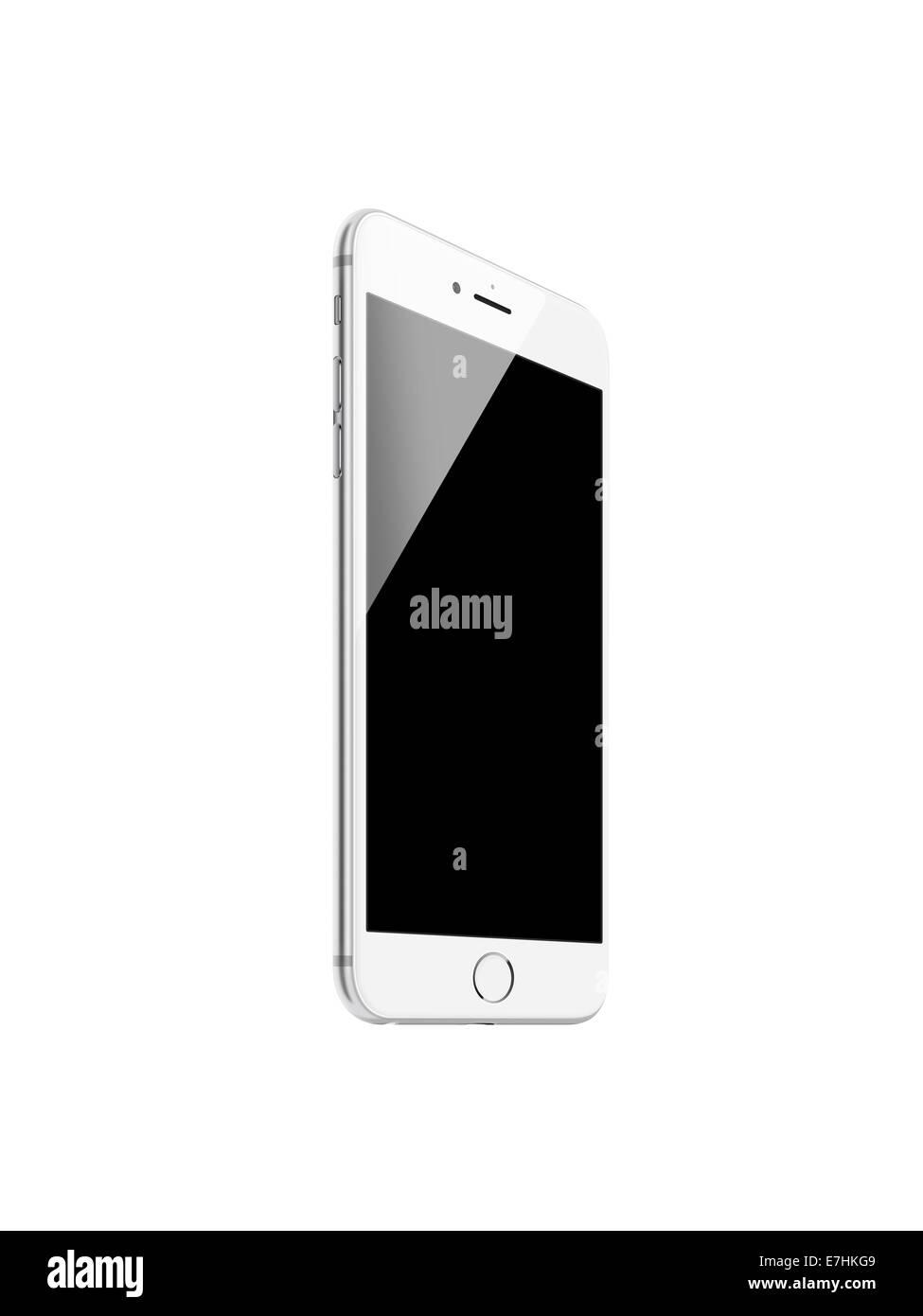 Smart phone iphone 6 (silver), digitally generated artwork. - Stock Image