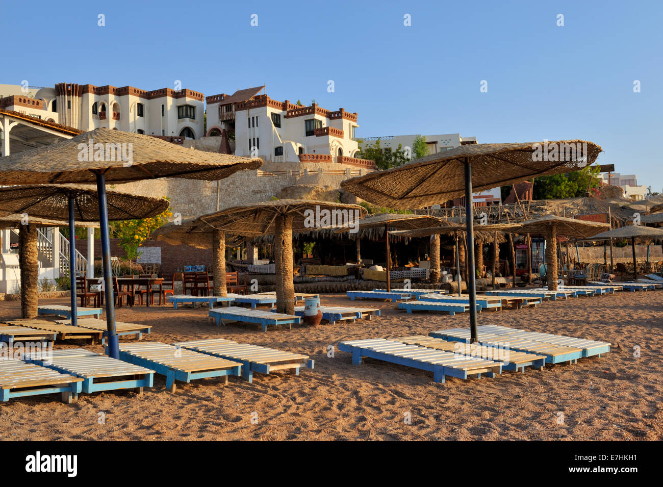 Beach resort Umbi at 'Sharks Bay' in Sharm El Sheikh by the Red Sea, Egypt. Popular with divers and tourists, - Stock Image