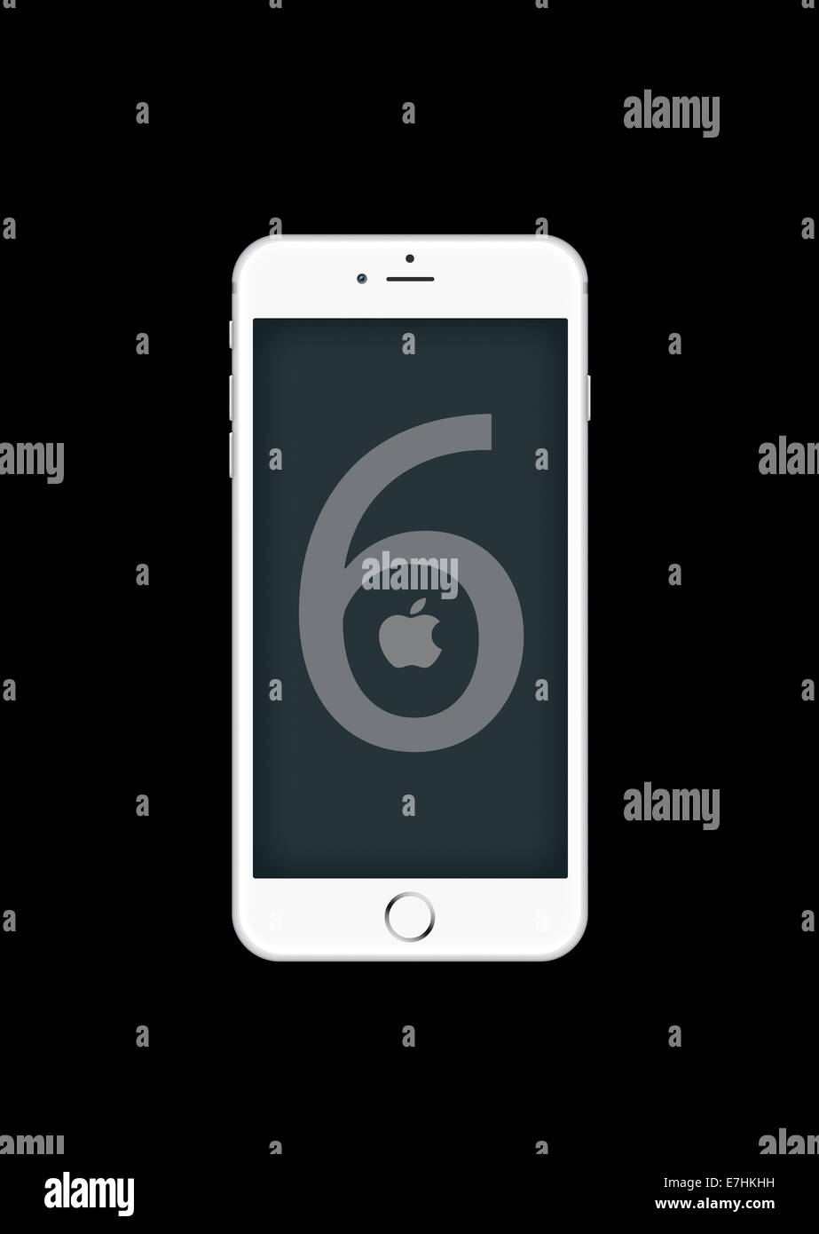 Digitally generated image of cell phone, new iphone 6. - Stock Image