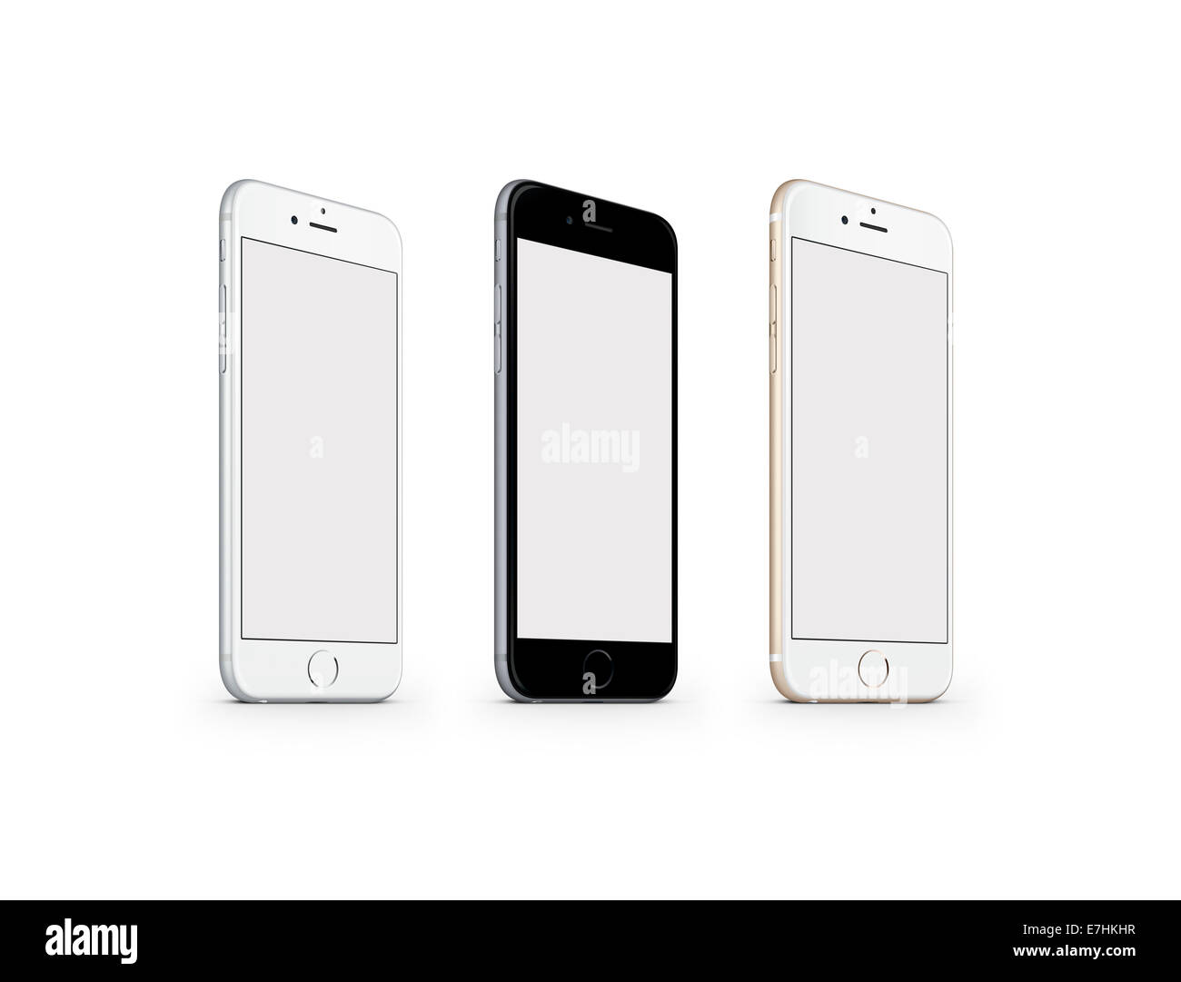 Digitally generated image of cell phones, iphone 6 space gray, gold and silver. - Stock Image