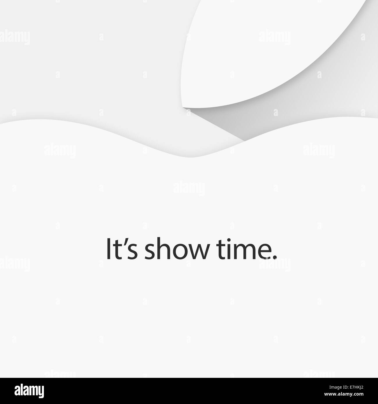 It's show time, text against white background, apple logo. - Stock Image