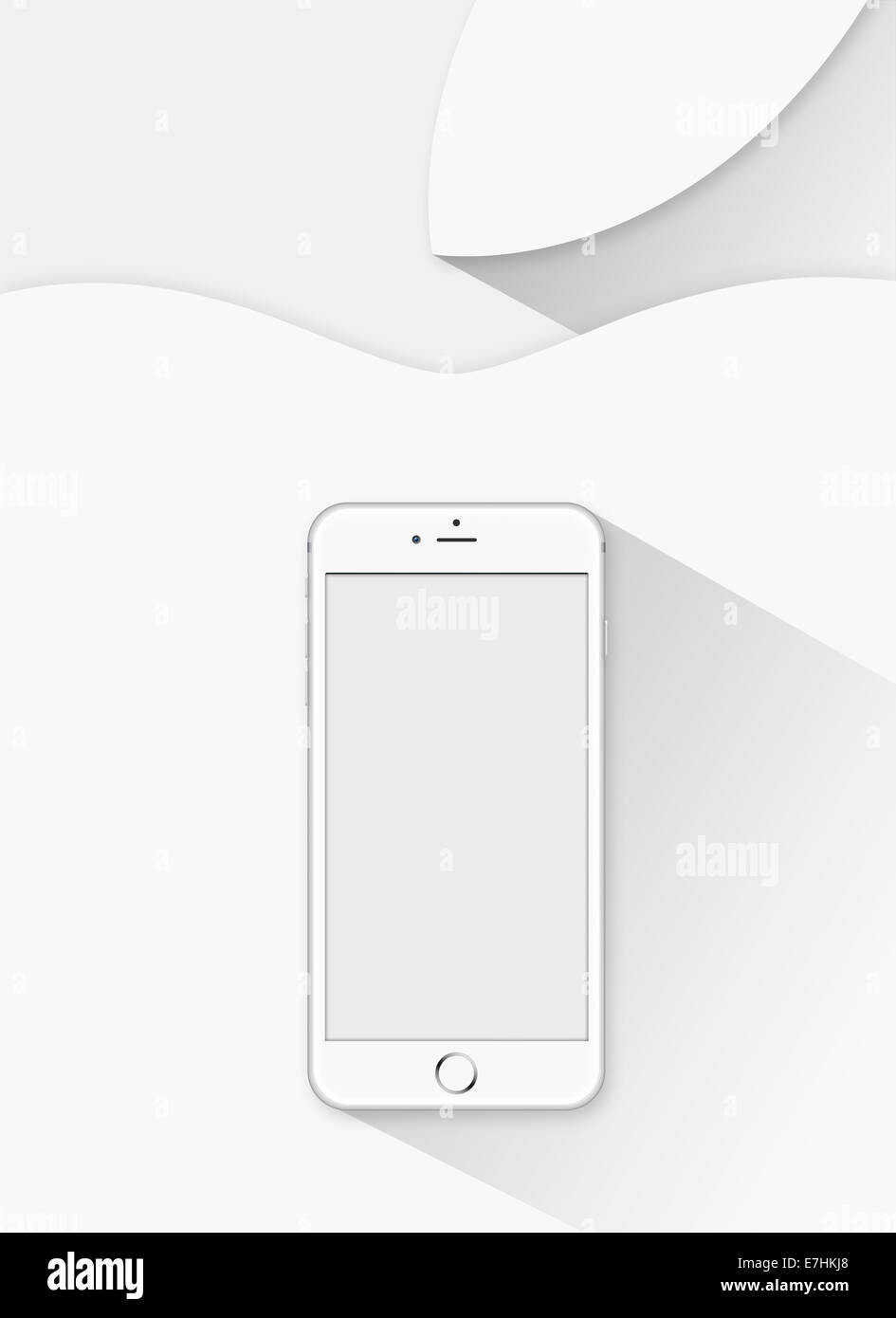 Digitally generated image of cell phone, iphone 6 and apple background. - Stock Image