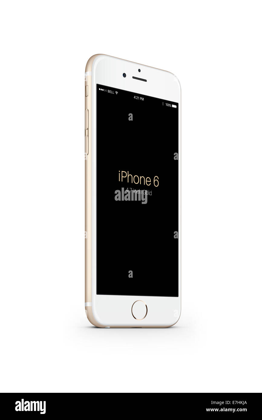 Digitally generated image of cell phone, iphone 6 gold. - Stock Image