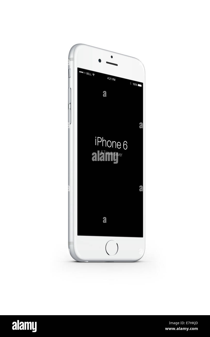 Digitally generated image of cell phone, iphone 6 silver. - Stock Image