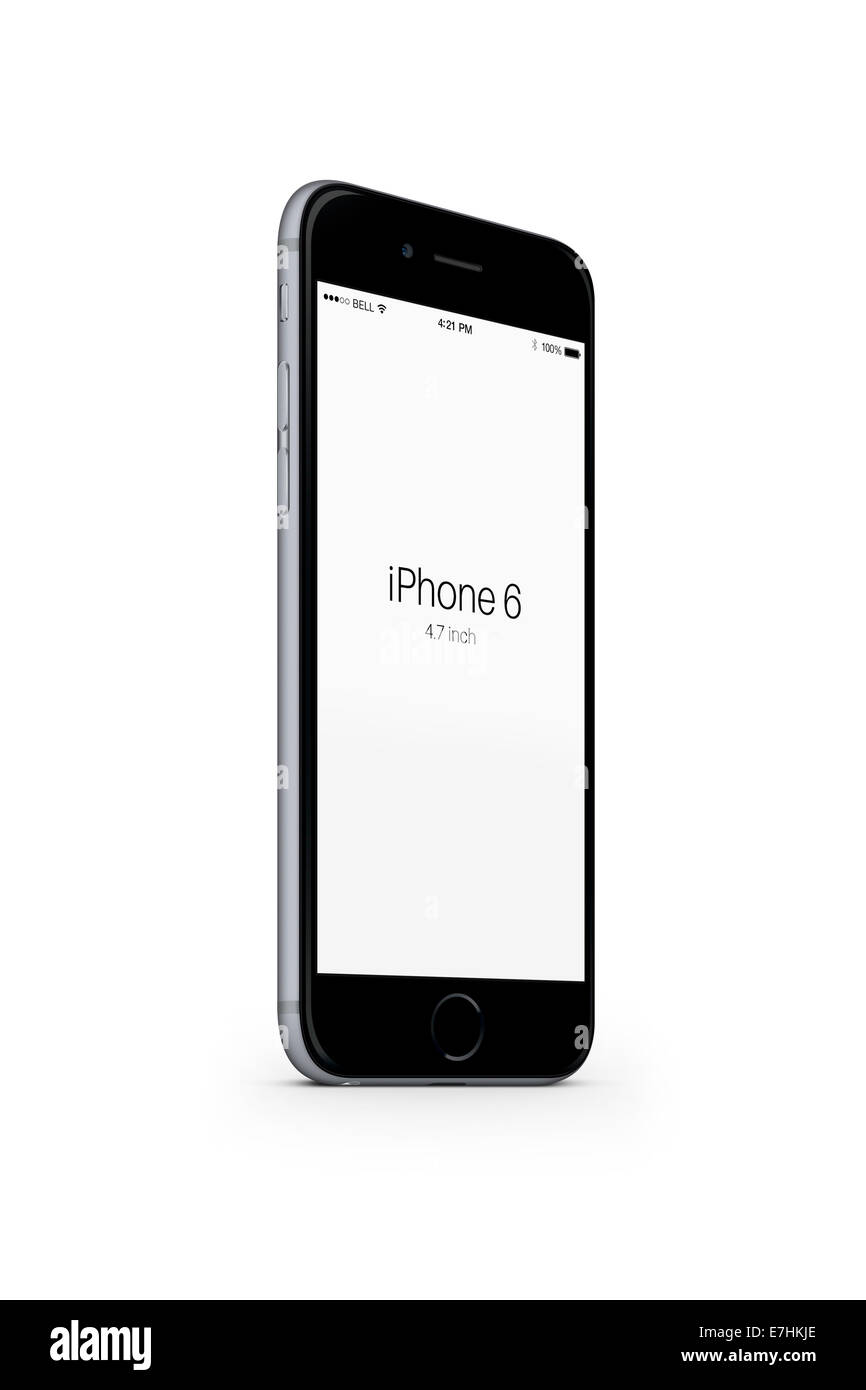 Digitally generated image of cell phone, iphone 6 space gray. - Stock Image