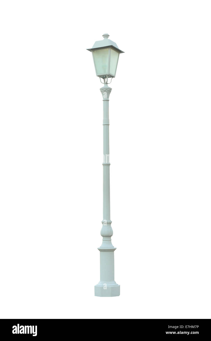 Vintage Lamp Post Lamppost Street Road Light Pole isolated On White Background Stock Photo
